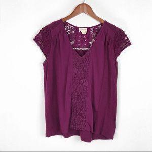 Anthropologie Meadow Rue Purple Crochet Top